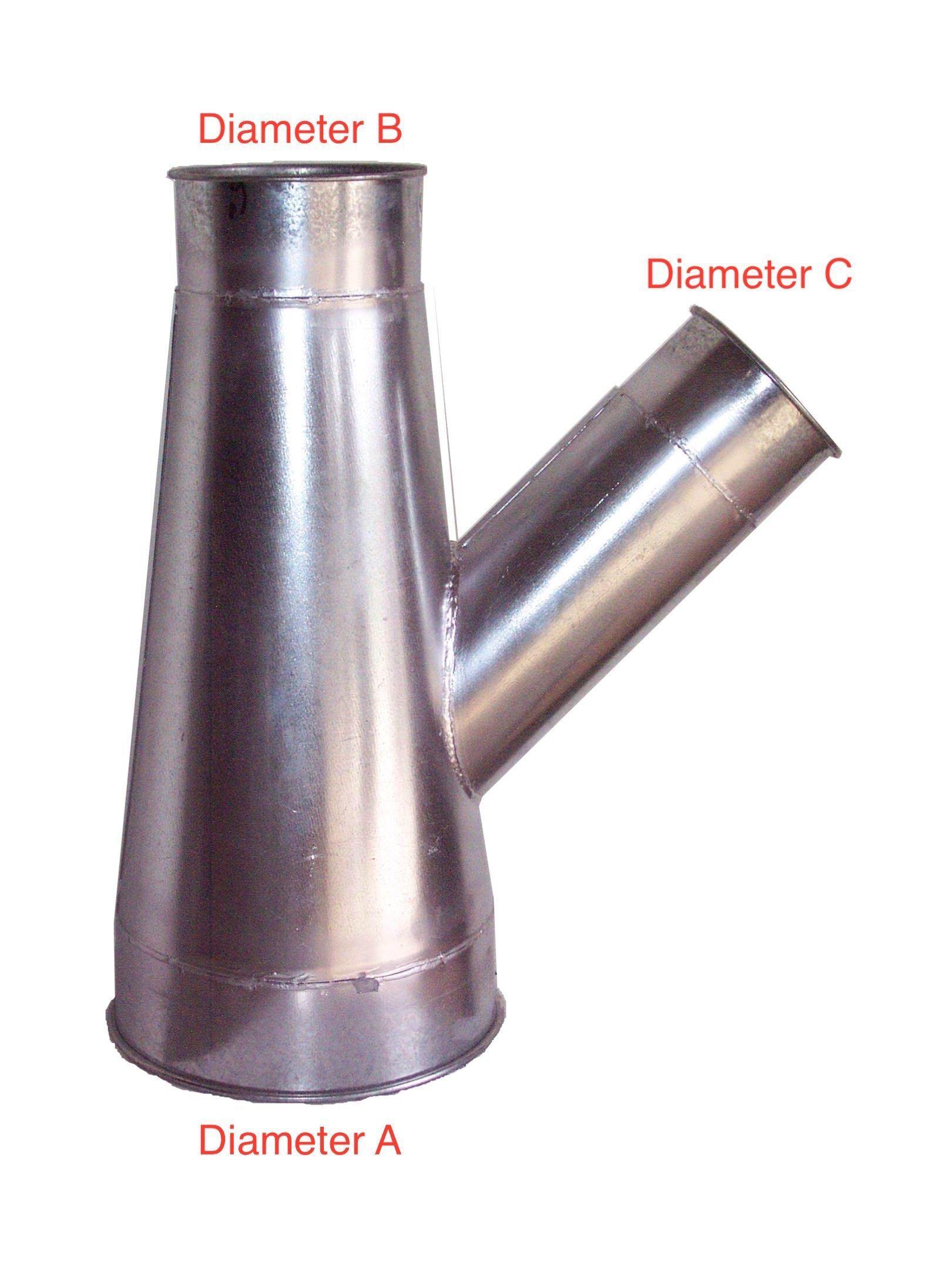 45 deg Branch-Standard Rolled Lip- 18 Gauge- Galvanized